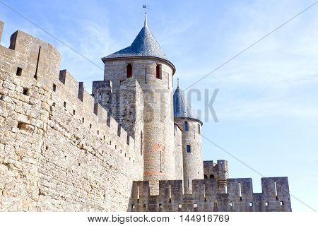 Carcassonne City With Its Towers And Walls In France