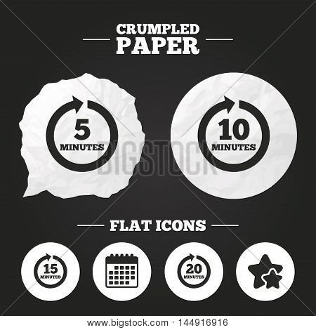 Crumpled paper speech bubble. Every 5, 10, 15 and 20 minutes icons. Full rotation arrow symbols. Iterative process signs. Paper button. Vector