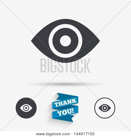 Eye sign icon. Publish content button. Visibility. Flat icons. Buttons with icons. Thank you ribbon. Vector
