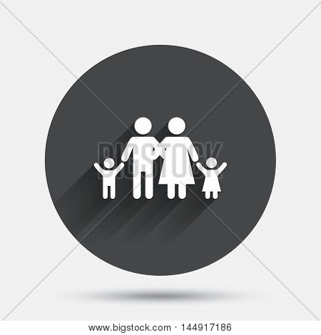Family icon. Parents with children symbol. Family insurance. Circle flat button with shadow. Vector
