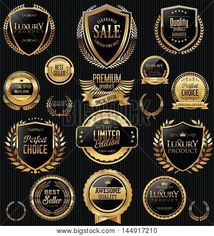 Golden Sale Shields Laurel Wreaths And Badges Collection 1.eps
