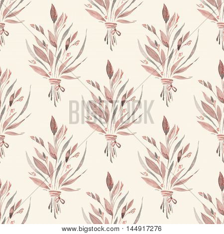 Hand drawn wildflowers. Watercolor floral seamless pattern 3