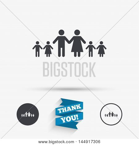 Complete family with many children sign icon. Large family symbol. Flat icons. Buttons with icons. Thank you ribbon. Vector