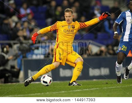BARCELONA, SPAIN - JAN, 13: Marc-Andre ter Stegen of FC Barcelona during a Spanish Kings Cup match against RCD Espanyol at the Power8 stadium on January 13, 2016 in Barcelona, Spain