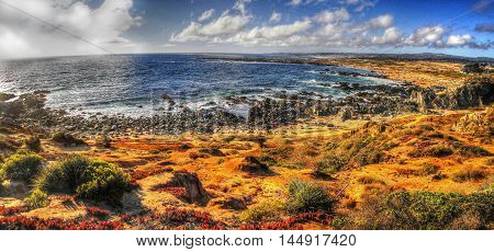 Hdr Afternoon Beach Sea Landscape Panoramic View