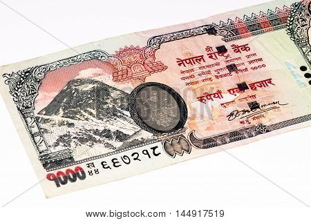 1000 Nepalese rupee bank note. Nepalese rupee is the national currency of Nepal