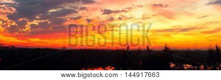 Orange Sky Natural Sunset Scene Panoramic View