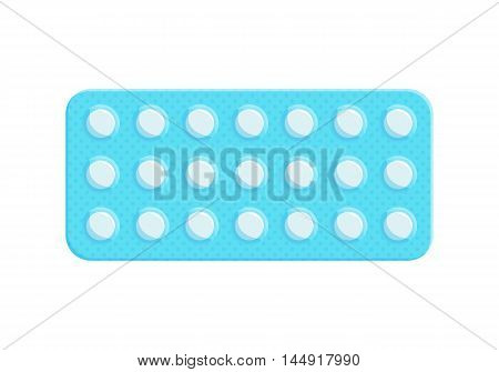 Blister pack of tablets. Medicine flat icon. Capsule packaging. Medical symbol of pharmacy. Vector illustration isolated on white background.