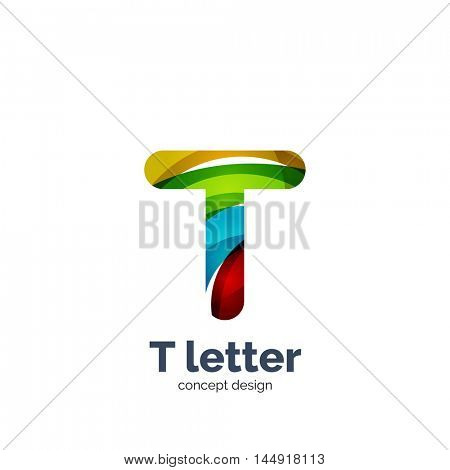 Vector T letter logo, modern abstract geometric elegant design, shiny light effect. Created with flowing waves