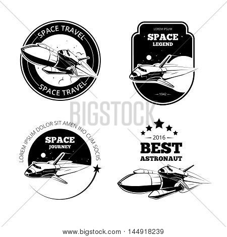 Vintage astronaut vector labels, badges and emblems set. Rocket label, vintage label badge, flight rocket, launch rocket shuttle, ship travel label illustration