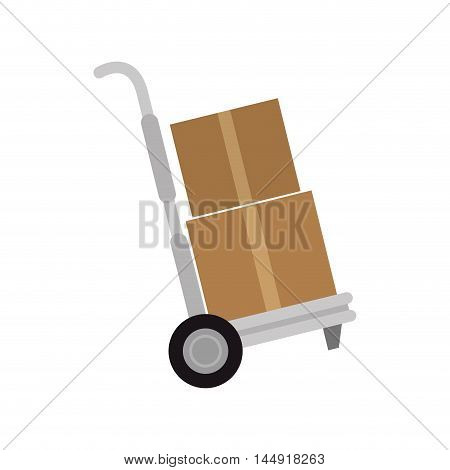 hand cart cargo transportation box cardboard shipping delivery packaging vector illustration
