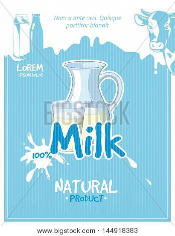 Vintage milk vector poster. Milk poster, fresh milk, healthy milk illustration