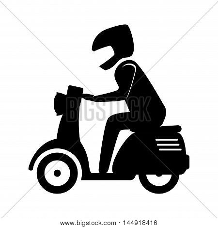 man riding scooter motorcycle transport vehicle silhouette vector illustration