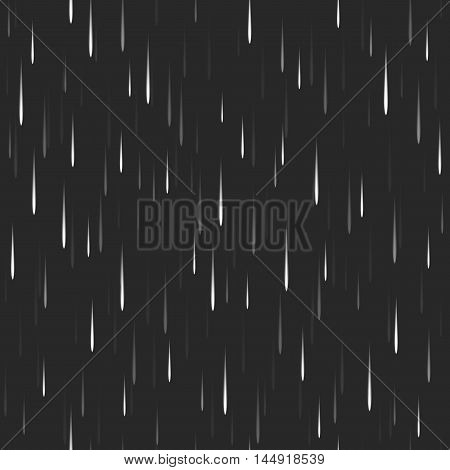 Heavy Vertical Rain Dark Seamless Pattern Nature Background, Rapid Movement Of Water Droplets With B