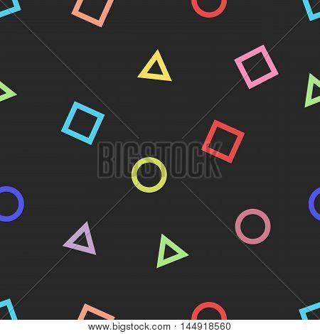 Memphis Style Seamless Pattern, Mockup Hipster Fabric Print, Random Colored Geometric Shape On Dark