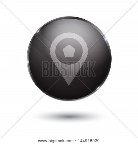 point sign icon. round black button isolated on white background. glass surface.