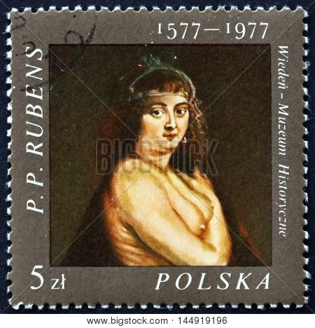 POLAND - CIRCA 1977: a stamp printed in the Poland shows Helene Fourment Painting by Flemish Painter Peter Paul Rubens circa 1977