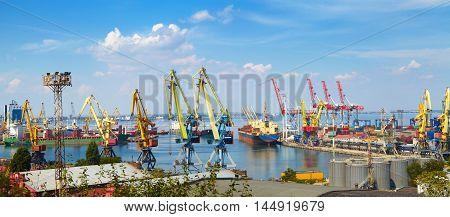 Sea Port In Odessa, Ukraine, 2016. Hoisting Crane And Ship