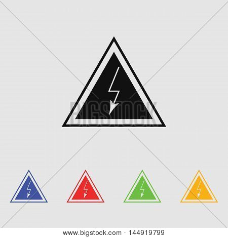 High voltage danger sign Vector icon for web and mobile