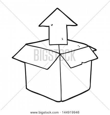 freehand drawn black and white cartoon unpacking a box