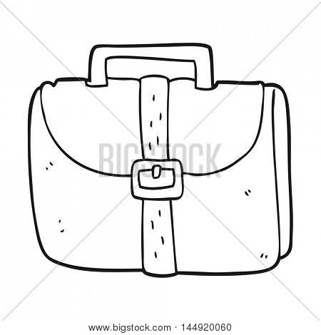 freehand drawn black and white cartoon old work bag