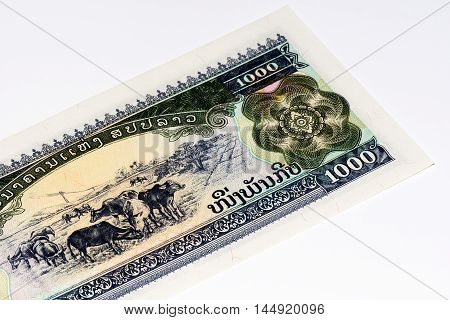 1000 kip bank note. Kip is the national currency of Laos.