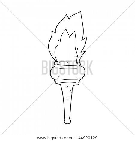 freehand drawn black and white cartoon flaming torch