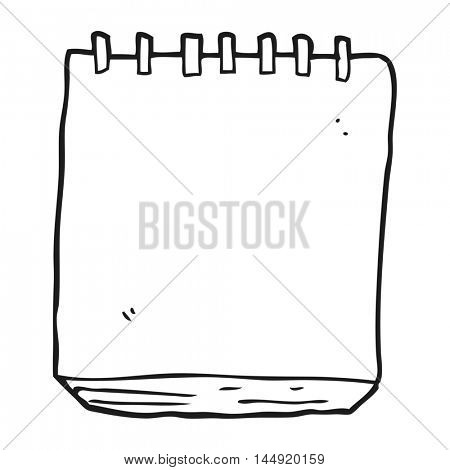 freehand drawn black and white cartoon note pad