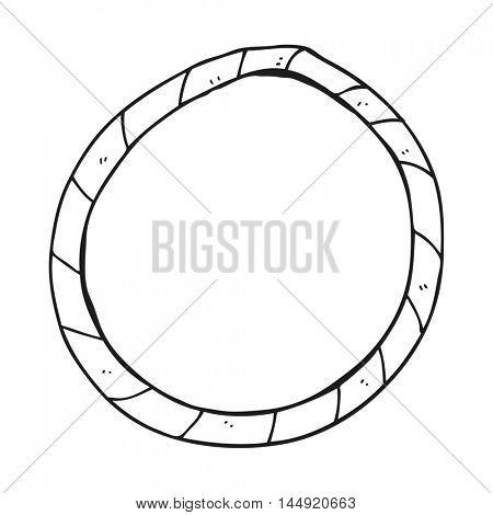 freehand drawn black and white cartoon hula hoop
