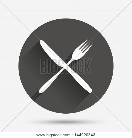 Eat sign icon. Cutlery symbol. Fork and knife crosswise. Circle flat button with shadow. Vector
