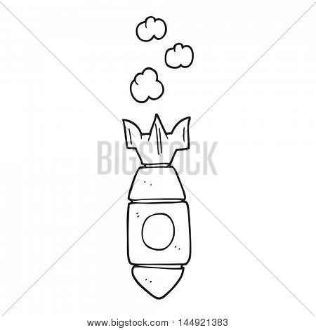 freehand drawn black and white cartoon falling bomb