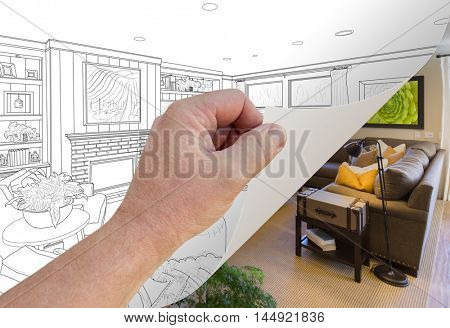 Male Hand Turning Page of Custom Living Room Photograph to Drawing Underneath. All artwork on the walls is my copyright.