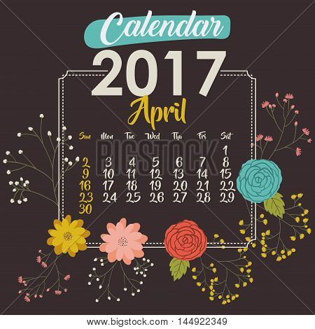 2017 april year calendar flowers floral garden planner month day icon. Colorful and Flat design. Vector illustration