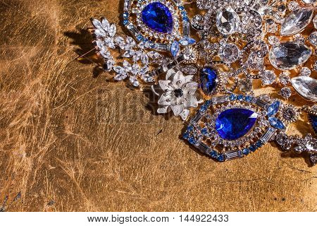 Lots of luxury precious golden and silver jewelry background