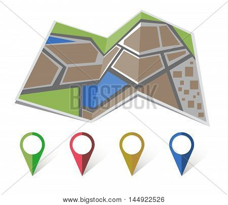 map icon vector gps icon setflat colored location icon