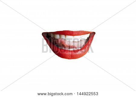 Sensual isolated red lips on white background.