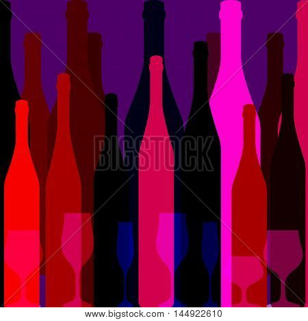 Background Bottle Ilustration.Alcoholic Bar Menu.Design for Party.Template for Menu Card.Wine List Design.Suitable for Poster.Card Cocktail Party.Bottle of Wine Vector.