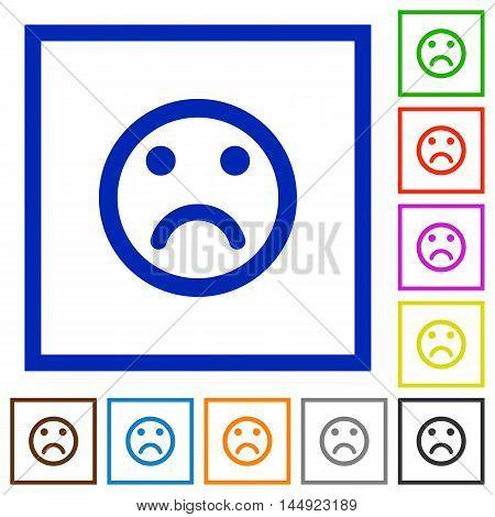 Set of color square framed Sad emoticon flat icons