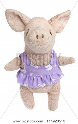 close up of pink toy plush pig dressed in purple dress isolated over white