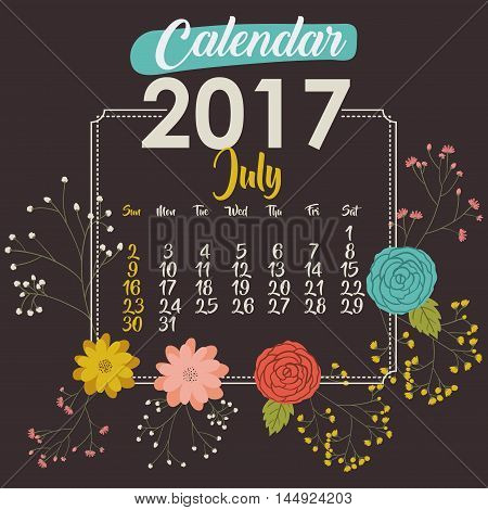 2017 july year calendar flowers floral garden planner month day icon. Colorful and Flat design. Vector illustration
