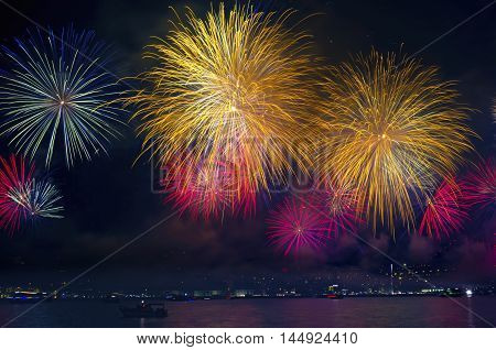 Istanbul Strait Fireworks Show (Turkey October 29 Republic Day Celebrations)
