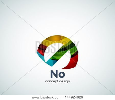 Vector no concept, prohibition logo template, abstract business icon