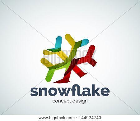 Vector Christmas snowflake logo template, abstract business icon