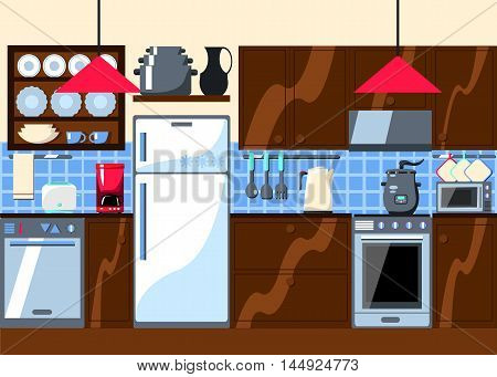 Kitchen room with furniture and home appliances. Horizontal vector illustration in flat style. Kitchenware house electronics wooden board. Cozy domestic interior in cartoon drawing style