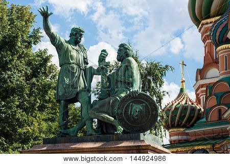 Monument to Minin and Pozharsky in St. Basil's Cathedral of Kremlin fortress Russia.