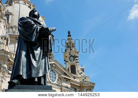 Martin Luther monument in front of Frauenkirche cathedral in Dresden Germany