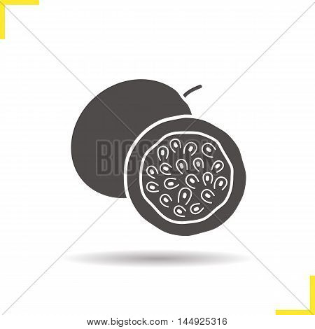 Passionfruit icon. Drop shadow silhouette symbol. Negative space. Passion fruit half. Vector isolated illustration