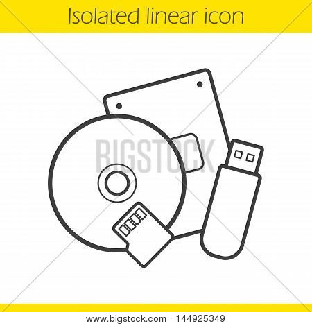 Data storage devices linear icon. Thin line illustration. Usb flash drive, flash card and cd disc. Contour symbol. Vector isolated outline drawing
