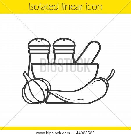 Spices linear icon. Thin line illustration. Salt and pepper shakers, garlic, mortar and pestle, chili. Contour symbol. Vector isolated outline drawing