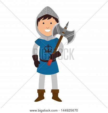 knight man smiling cartoon medieval warrior battle axe weapon vector illustration